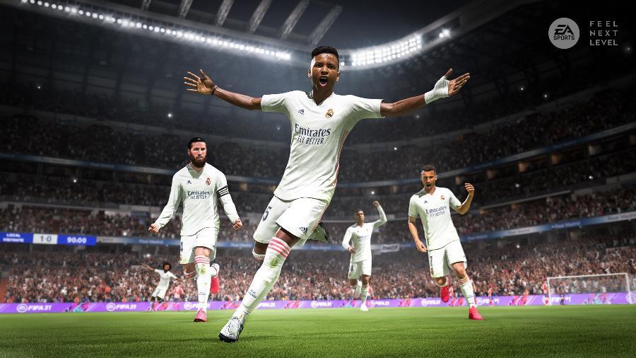 Rodrygo, do Real Madrid, no Fifa 21; game é atração do Futebol Muleke na Twitch e no TikTok - Divulgação/EA