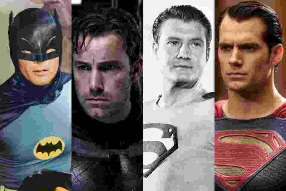 Os atores Adam West e Ben Affleck como Batman, e George Reeves e Henry Cavill como Superman - Reprodução