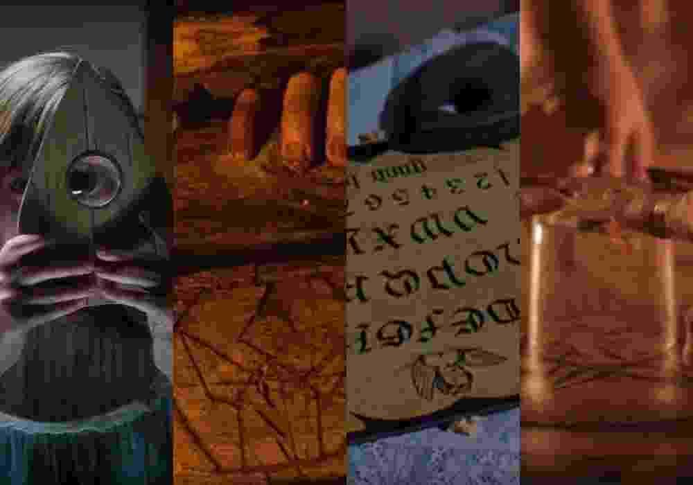 """Cenas dos filmes """"Ouija: Origem do Mal"""" (2016), de Mike Flanagan, """"O Diabo Mora Aqui"""" (2015), de Rodrigo Gasparini e Dante Vescio, """"Espírito Assassino"""" (1986), de Kevin Tenney e """"Jogo do Copo"""" (2014), de Amanda Maya - Reprodução/Montagem"""