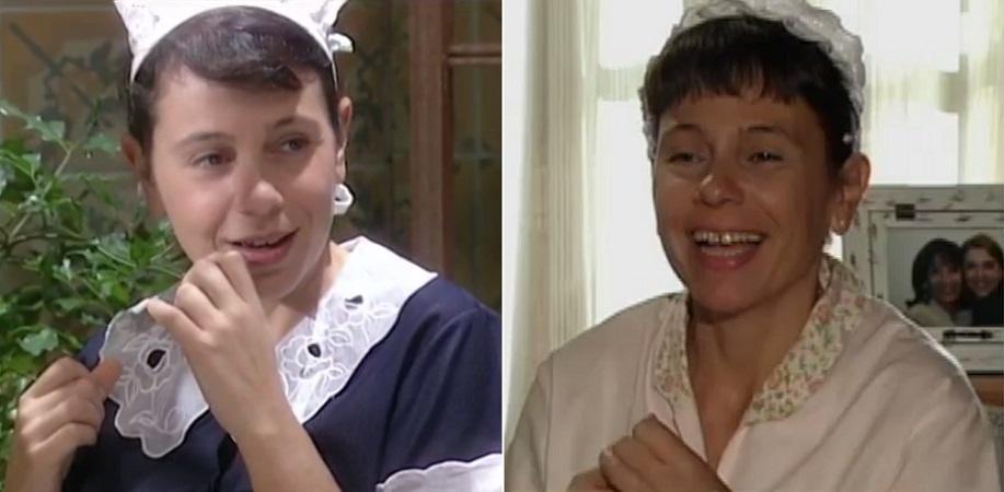 """Montagem com as empregadas de Iara Jamra: Lurdinha em """"O Rei do Gado"""" (1996) e Brasilina em """"Roda da Vida"""" (2001)"""