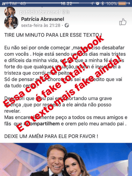 "Patricia Abravanel denuncia perfil falso que alertava ""grave doença"" de Silvio Santos - Reprodução/Instagram - Reprodução/Instagram"
