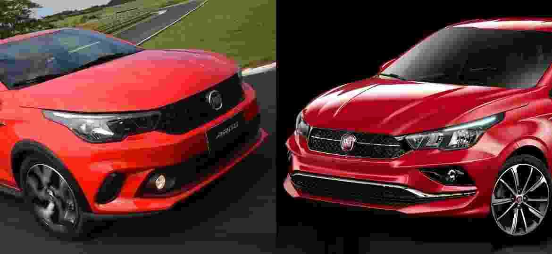 Fiat Argo (à esquerda) e Cronos (à direita): cara é quase a mesma, mas grade, para-choque e rodas são diferentes - Murilo Góes/Divulgação/Arte UOL