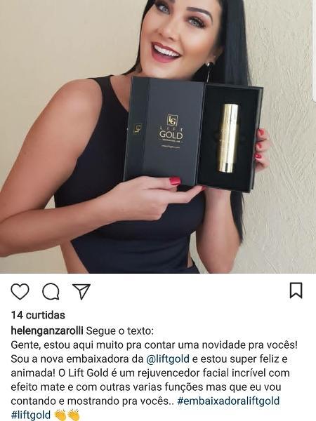 Helen Ganzarolli se esquece de revisar texto em publicidade para o Instagram - Reprodução/Instagram/helenganzarolli