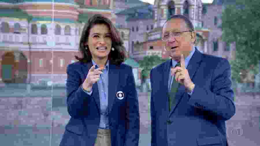 Renata Vasconcellos e Galvão Bueno defenderam a permanência de Tite no comando da seleção - Reprodução/TV Globo