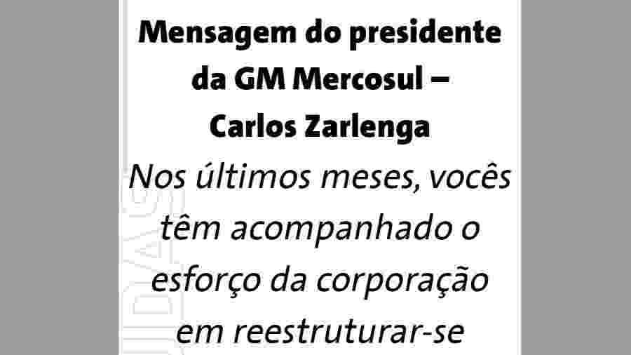 Mensagem do presidente da GM Mercosul, Carlos Zarlenga, enviada a funcionários na sexta-feira (18/01/2019) - Reprodução