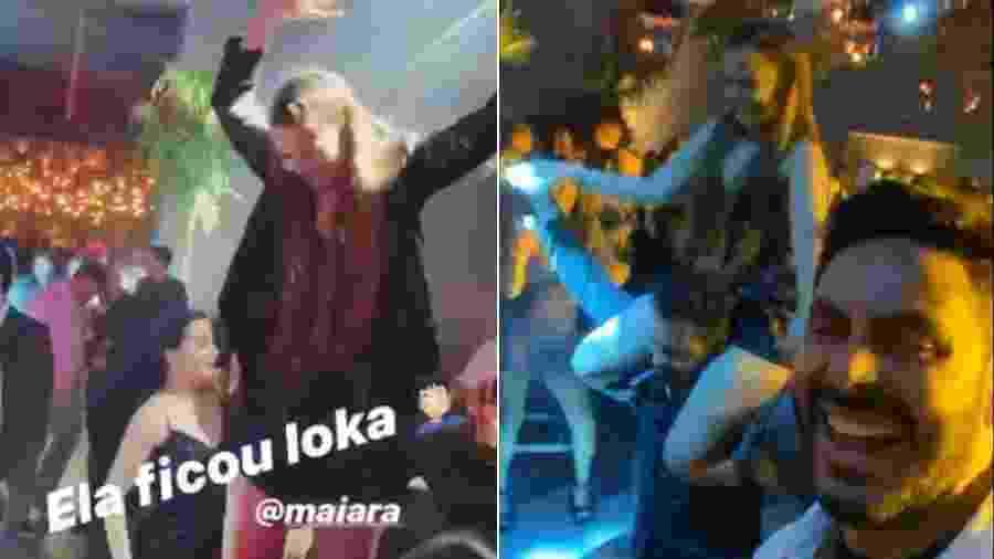 Maiara empolgada em festa e depois dançando nos ombros do namorado, Fernando - Reprodução/Instagram