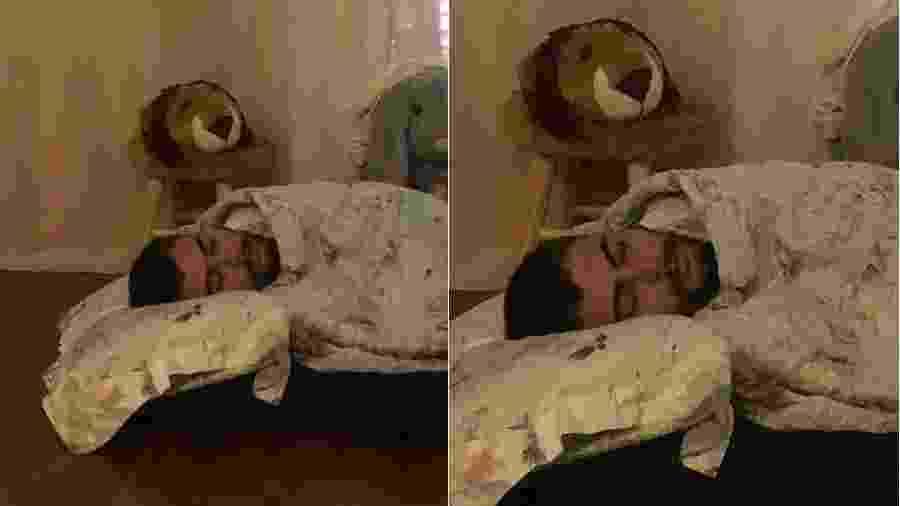Rafael Vitti dormindo no chão do quarto da filha - Reprodução/Instagram