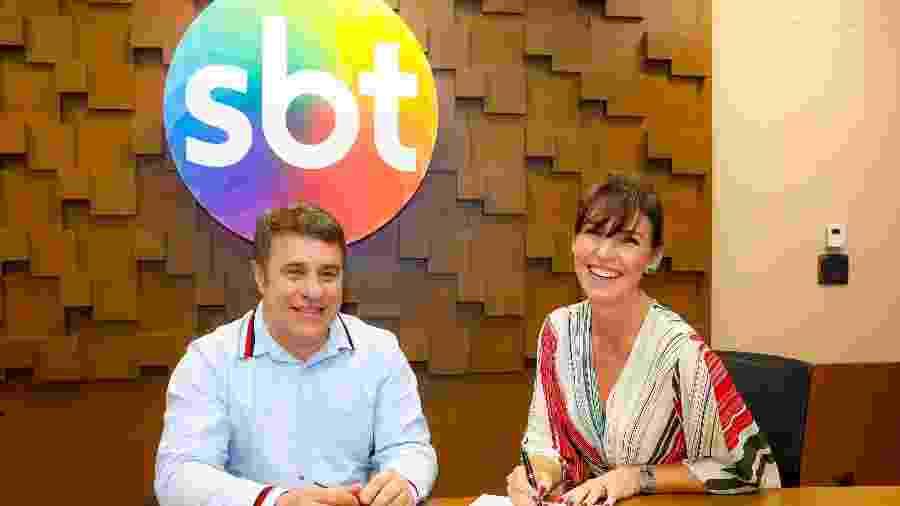 Glenda Kozlowski e o diretor artístico do SBT Fernando Pelégio   - Gabriel Cardoso Divulgação SBT