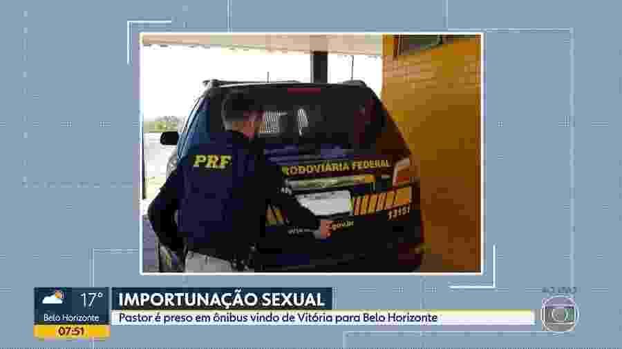 """O suspeito disse à PRF que """"estava há 20 anos sem uma mulher e por isso caiu em tentação"""" - Reprodução/TV Globo"""