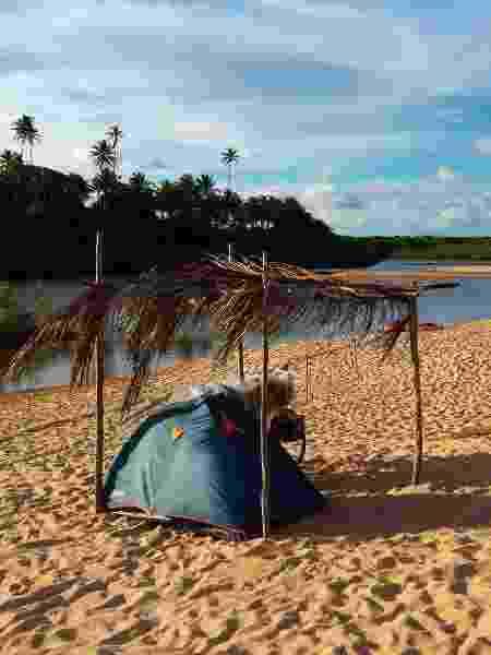 Eduardo dormiu em barraca na Bahia - Arquivo pessoal - Arquivo pessoal