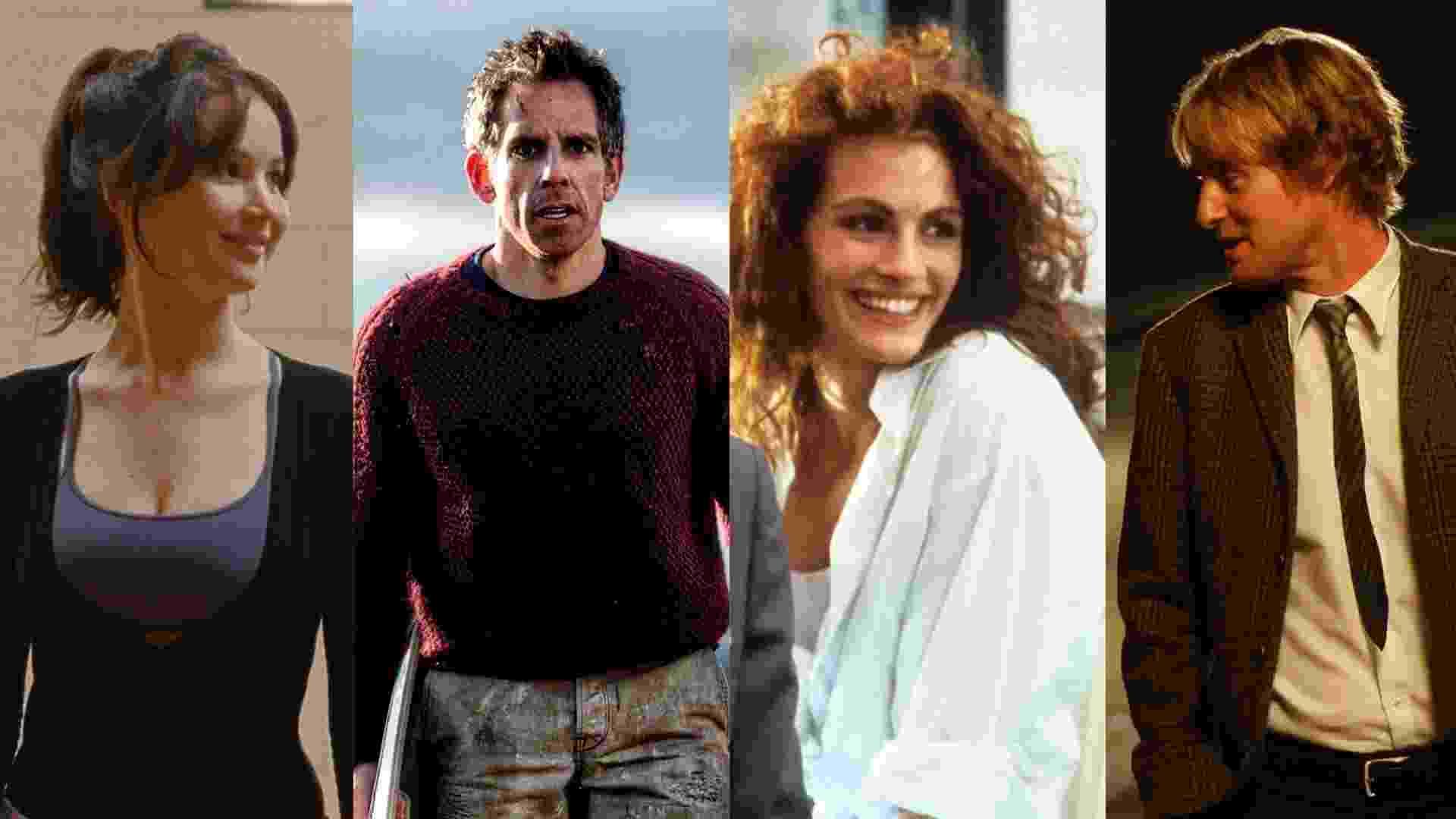 """Cenas dos filmes """"O Lado Bom da Vida"""" (2012), de David O. Russell, """"A Vida Secreta de Walter Mitty"""" (2013), """"Uma Linda Mulher"""" (1990), """"Meia-Noite em Paris"""" (2011) - Reprodução/Montagem"""