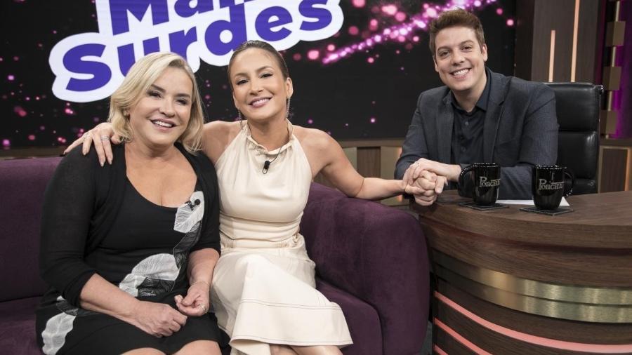 Claudia Leitte e sua mãe no programa de Fábio Porchat - Reprodução/Globoplay