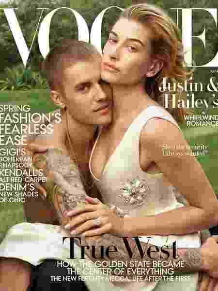 """Justin Bieber e Hailey Baldwin na capa da """"Vogue"""" de março - Reprodução"""