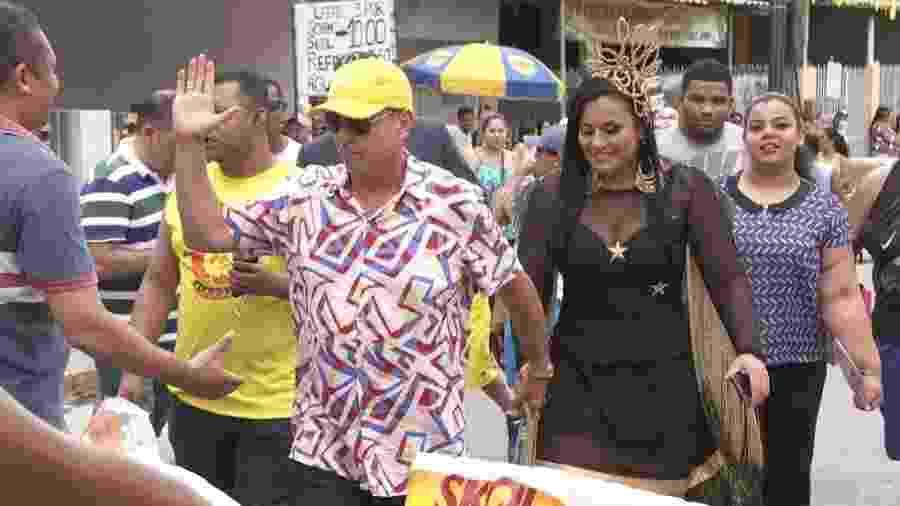 Meira e Tatiana, no bloco Canário Elétrico - Reprodução/TV Globo
