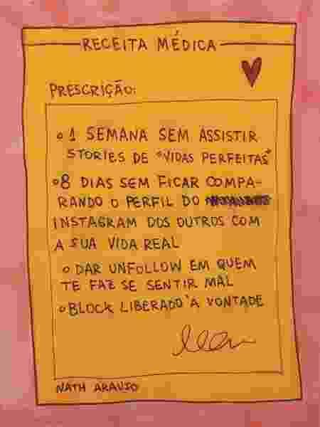 Influenciadora Nath Araújo ilustrou uma receita para ser saudável nas redes sociais - Nath Araújo / Instagram @nanaths - Nath Araújo / Instagram @nanaths