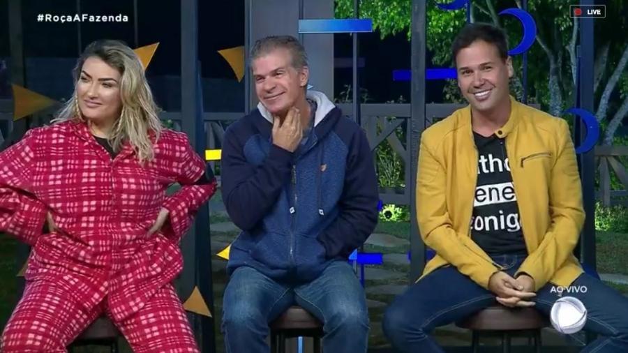 Thayse, Túlio e Viny Vieira formam a terceira roça de A Fazenda 2019 - Reprodução/RecordTV