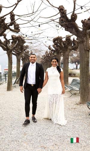 Naldo Benny e Moranguinho renovam votos de casamento em parque na Itália