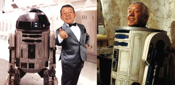 """O ator Kenny Baker, o R2-D2 de """"Star Wars"""" - Montagem/Reprodução"""