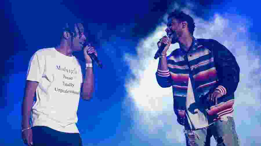 22.abr.2016 - A$AP Rocky (esq.) e Miguel no festival Coachella - Divulgação