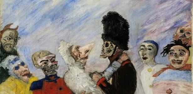 """A tela """"Squelette Arrêtant Masques"""", do belga James Ensor - Reprodução"""