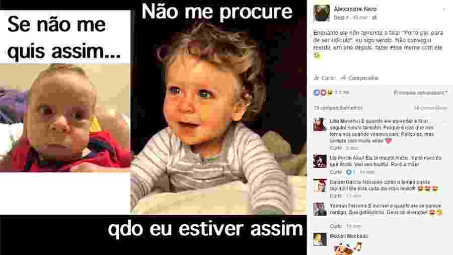 Alexandre Nero faz meme no aniversário de um ano do filho - Reprodução/Facebook