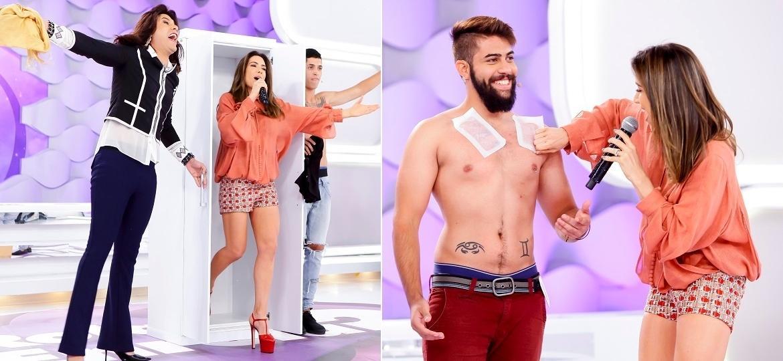 """Patricia Abravanel """"sai do armário"""" e depila participante do quadro """"Rola ou Enrola?"""" - Gabriel Cardoso/SBT"""