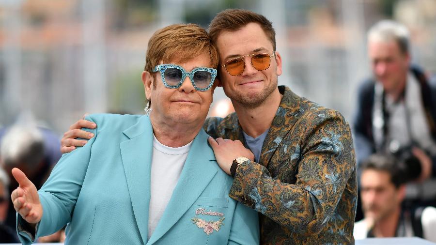 Elton John e Taron Egerton em Cannes - Alberto Pìzzoli/AFP