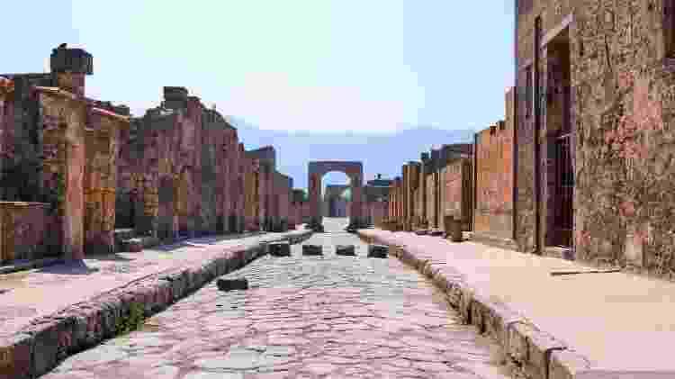 A estrutura de Pompeia pode ser vista com clareza pelos turistas que visitam o sítio arqueológico - Lauz83/Getty Images/iStockphoto
