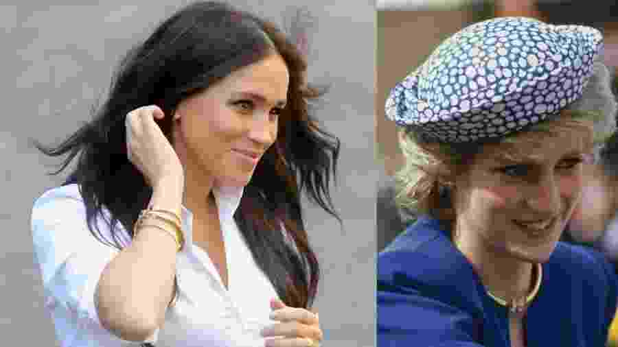 Meghan Markle usa brincos utilizados pela princesa Diana em 1986 - Chris Jackson/Getty Images e Georges De Keerle/Getty Images