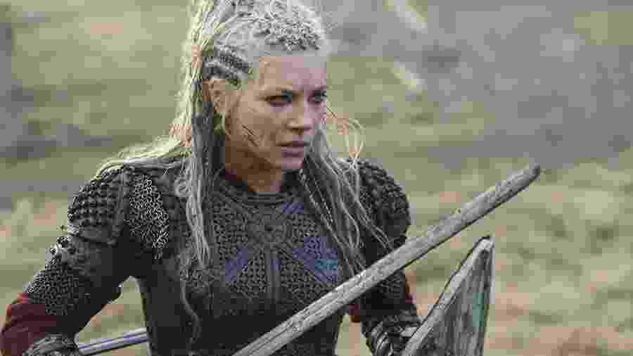 """Lagertha (Katheryn Winnick) na sexta temporada de """"Vikings"""" - Divulgação"""