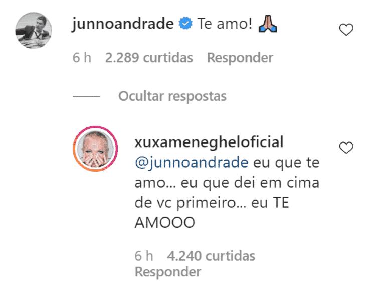 Junno Andrade e Xuxa Meneghel trocam mensagens no dia dos pais - Reprodução/Instagram - Reprodução/Instagram