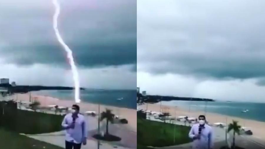 Repórter se preparava para entrar ao vivo quando raio caiu - Reprodução/Instagram