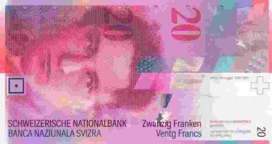 Apesar de estar no coração da Europa, a Suíça não adotou o euro, mantendo suas tradicionalmente belas notas de francos suíços em circulação - Reprodução