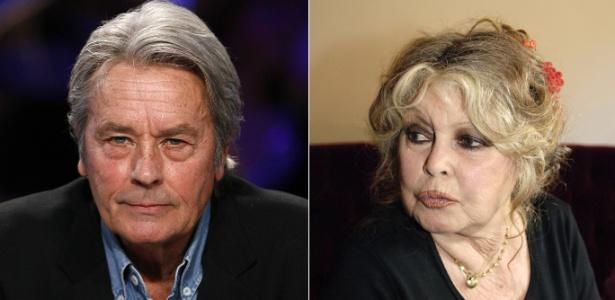 Montagem com as fotos de Alain Delon, em 2008, e a atriz Brigitte Bardot, em 2006. - AFP Photo / Patrick Kovarik / Stephane De Sakutin