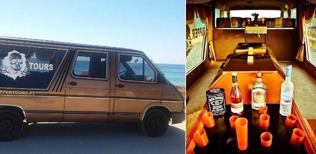 """Carro usado no """"Ripper Tours"""", onde o caixão foi transformado em um bar - Reprodução/Instagram.com/rippertours"""