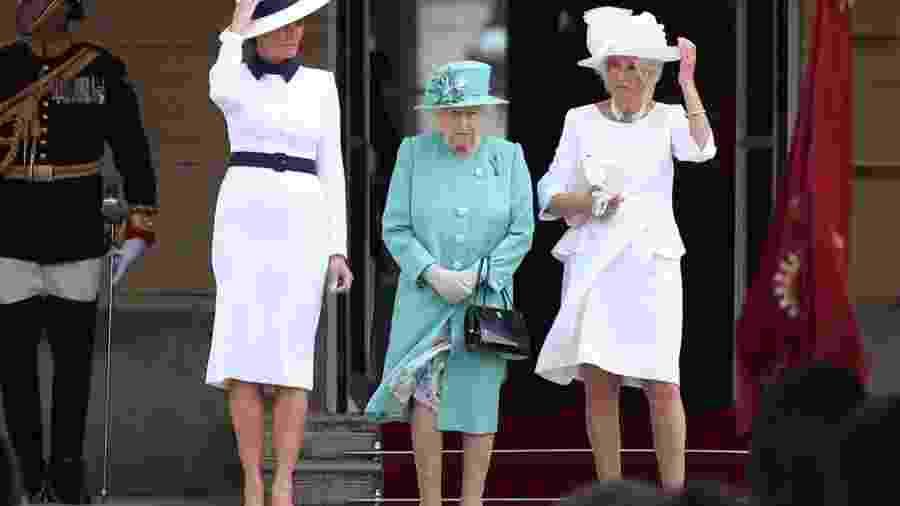 Melania Trump, a rainha Elizabeth 2ª e Camilla, a duquesa da Cornualha - Reuters