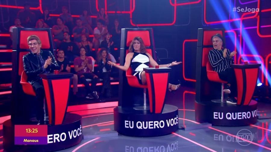 Marcelo Adnet imita Michel Teló, Ivete Sangalo e Lulu Santos no The Fake Brasil, paródia do The Voice no Se Joga - Reprodução/TV Globo