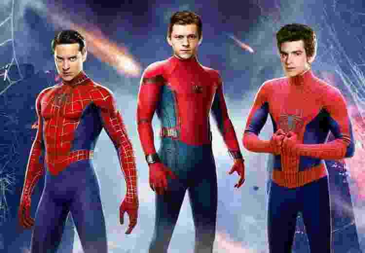 """Será que vem aí? Tobey Maguire, Tom Holland e Andrew Garfield como """"Homem-Aranha"""" - montagem/Jakub Mas?owski - montagem/Jakub Mas?owski"""