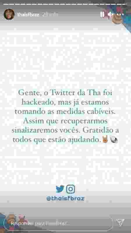 Twitter de Thaís Braz é hackeado - Reprodução/ Instagran - Reprodução/ Instagran