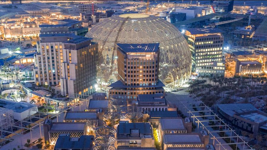 O centro com os mais de 200 pavilhões da Expo 2020 em Dubai - Divulgação