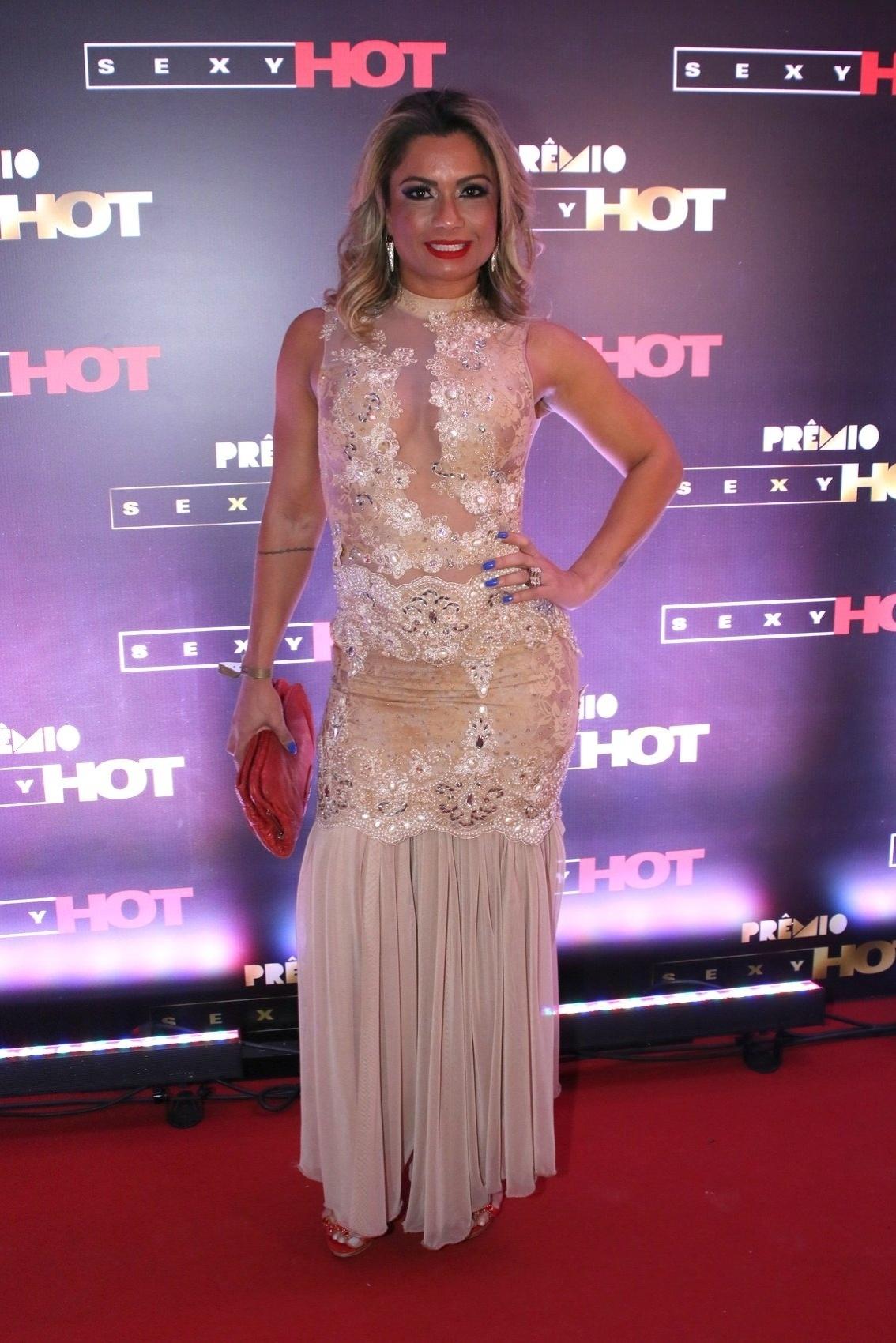 18.ago.2015 - Dani Sperle na segunda edição do prêmio Sexy Hot, que reconhece as melhores produções eróticas do Brasil, nesta terça-feira na Vila Olímpia em São Paulo