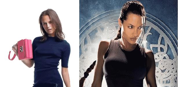 A atriz Alicia Vikander (à esquerda) vai interpretar Lara Croft em novo filme; Ageline Jolie interpretou a arqueóloga nos dois filmes anteriores da franquia (à direita) - Reprodução - Reprodução