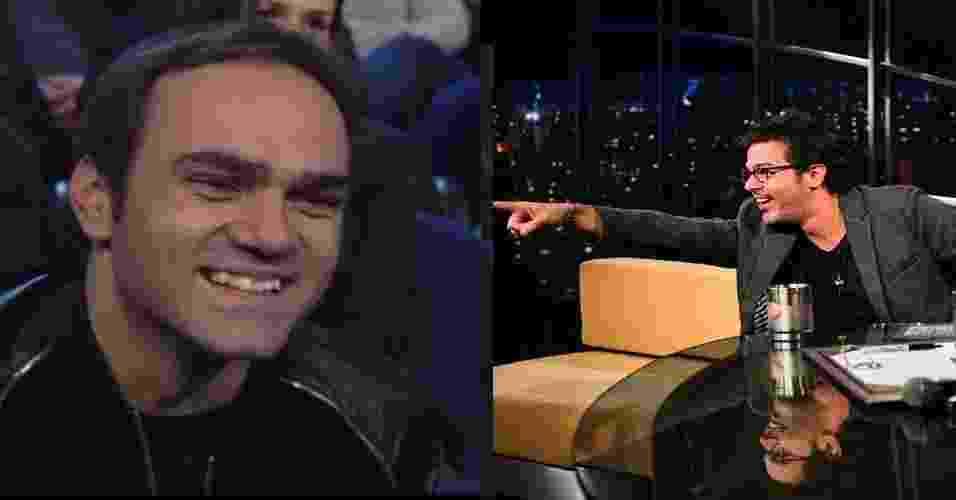 """14.out.2016 - William Tavares, da ESPN, acompanha a entrevista na plateia do """"Programa do Jô"""" e é reconhecido por Bruno Mazzeo - Reprodução /TV Globo"""