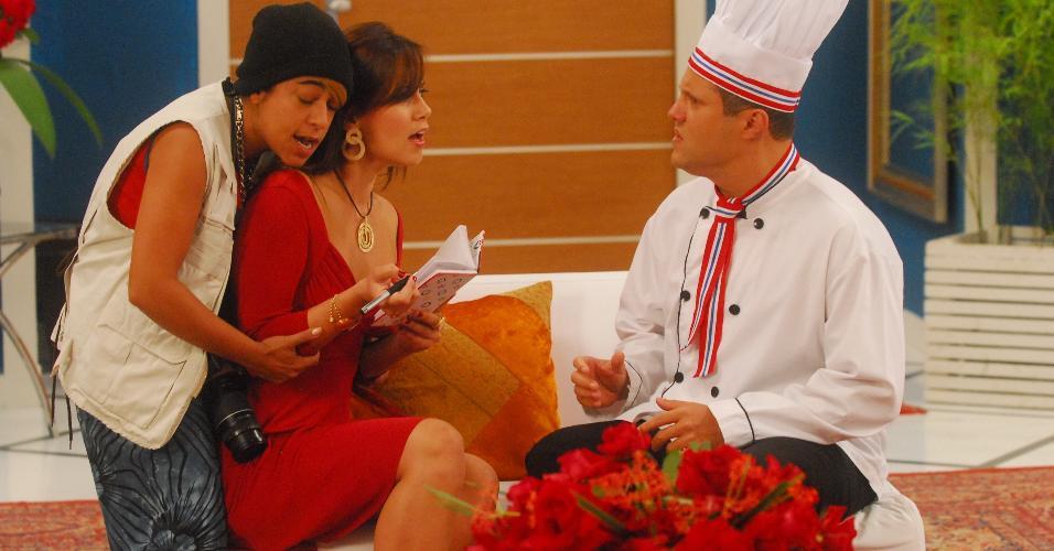 """Samantha Schmütz, a ex-BBB Angélica Morango e Renato Rabelo no """"Zorra Total"""" (2010)"""