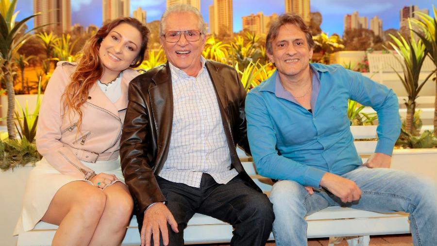 Marcelo de Nóbrega ao lado do pai, Carlos Alberto, e da filha, Dalila - Lourival Ribeiro/SBT