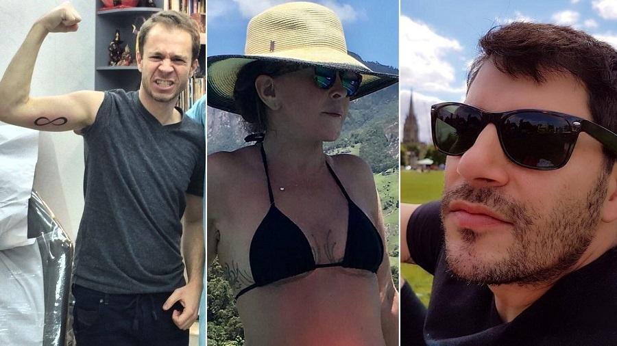 Tiago Leifert, Zilu Camargo e Evaristo Costa são tatuados - Montagem/UOL