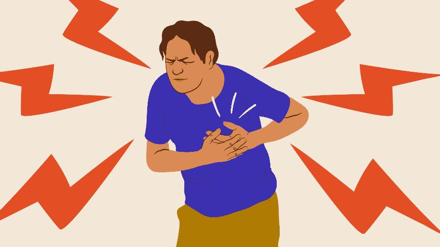 Além de dor no peito, o infarto pode causar sudorese, falta de ar, tontura e fraqueza - Camila Rosa/VivaBem