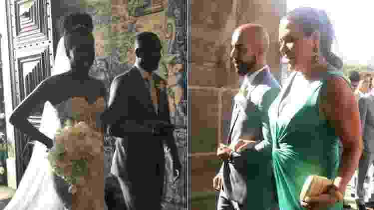 Iza e o noivo, Sérgio Santos, entram na igreja do Outeiro da Glória, no Rio de Janeiro - Montagem/UOL/Reprodução/Instagram - Montagem/UOL/Reprodução/Instagram