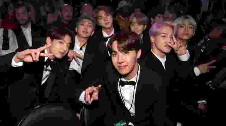 Meninos do BTS, o maior grupo de k-pop do mundo, se divertem na plateia do Grammy - Lester Cohen/Getty Images for The Recording Academy
