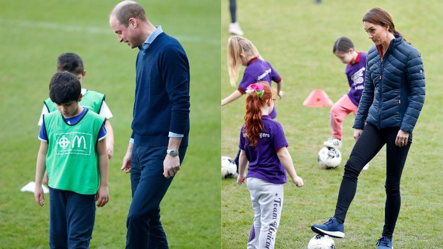 Kate, a duquesa de Cambridge, e o príncipe William jogaram bola com crianças durante a visita ao Windsor Park - Getty Images